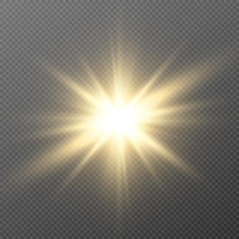Goldenes licht. sonne, sonnenstrahlen, morgendämmerung, stern, fackel png. goldener stern.