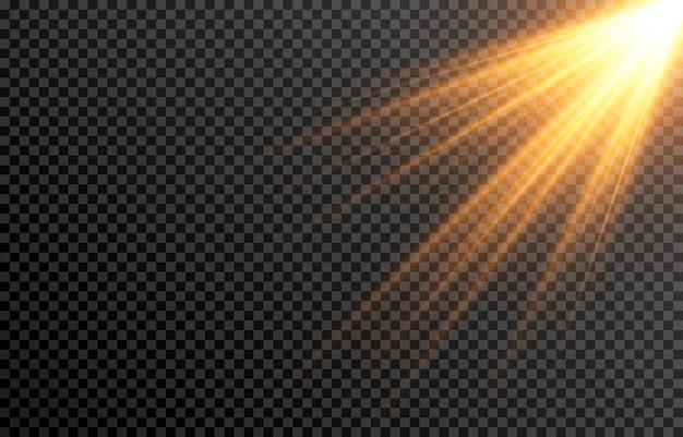 Goldenes licht, sonnenstrahlen, sternfackel