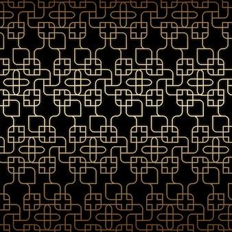 Goldenes lineares nahtloses muster, art deco, schwarz und goldfarben