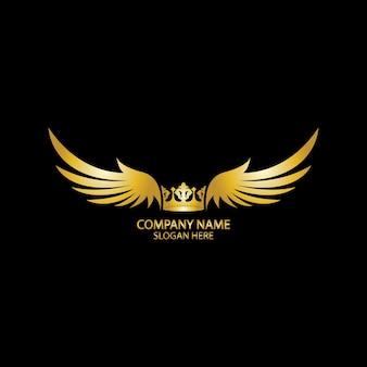 Goldenes logo der geflügelten krone/vektorillustration.