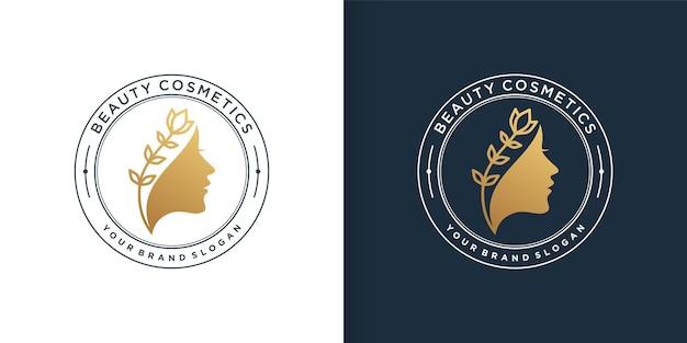 Goldenes logo der schönheitskosmetik für frauen