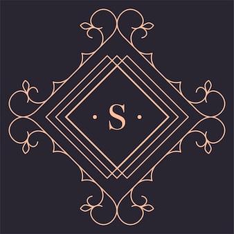 Goldenes logo mit geraden linien und wirbeln, isolierter rautenrahmen mit ornamenten