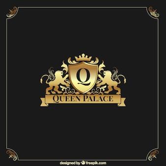 Goldenes Logo mit Vintage- und Luxus-Stil