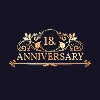 Goldenes logo zum 18. jahrestag