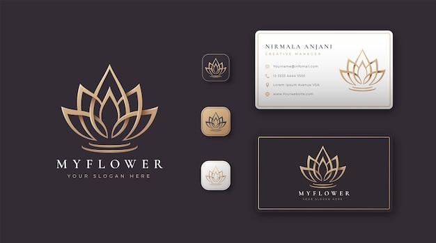 Goldenes lotusblumenlogo und visitenkartenentwurf