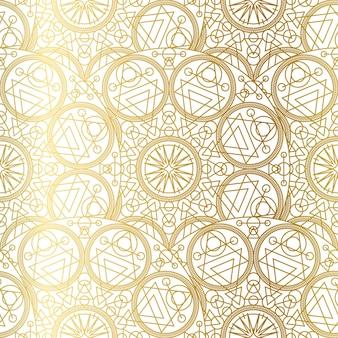 Goldenes luxus-kunst-mandala-boho-nahtloses muster