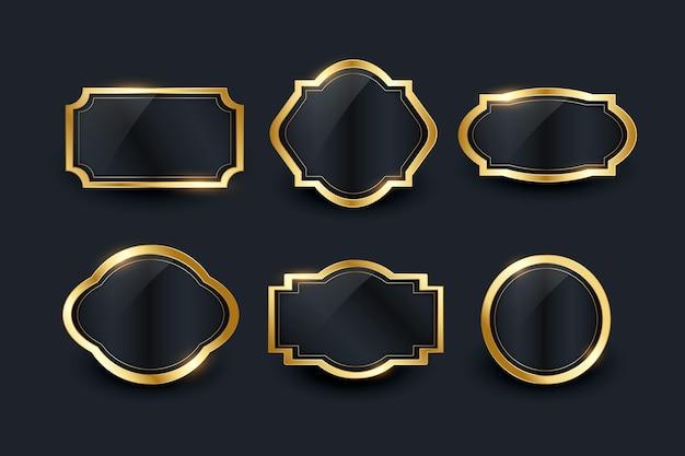 Goldenes luxus-rahmenset mit farbverlauf