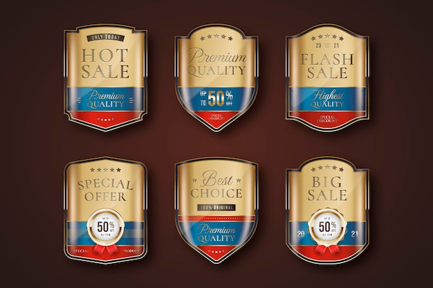 Goldenes luxus-verkaufsetikettenset