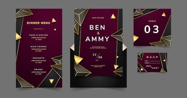 Goldenes luxushochzeitsbriefpapier mit farbverlauf