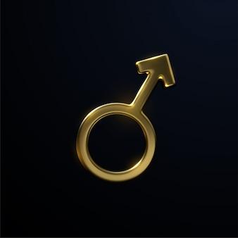 Goldenes marszeichen lokalisiert auf schwarzem hintergrund. männliches symbol. männlichkeitskonzept.