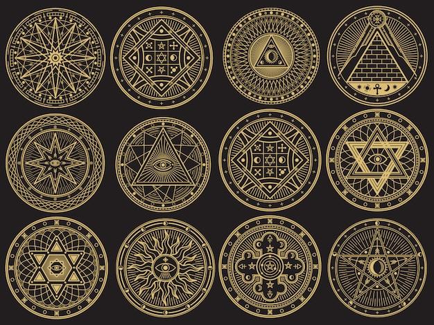 Goldenes mysterium, hexerei, okkultismus, alchemie, mystische esoterische symbole