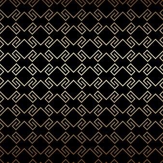 Goldenes nahtloses muster auf schwarzem art-deco-stil
