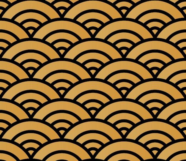 Goldenes nahtloses musterhintergrundbild des japanischen stils runde kurve kreuzen wellen