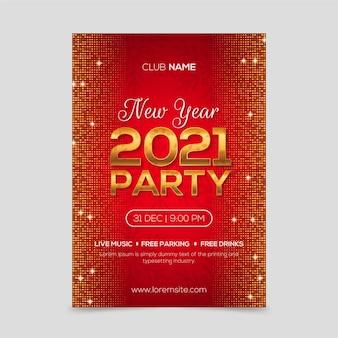 Goldenes neues jahr 2021 partyplakatschablone