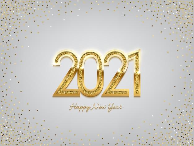 Goldenes neujahrszeichen 2021 auf winterferienhintergrund