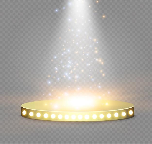 Goldenes podium auf transparentem hintergrund. das podium der gewinner mit hellen lichtern.