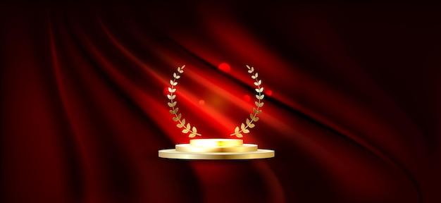 Goldenes podium für den ersten platz mit lorbeerkranz goldrang auf der bühne auf rotem vorhanghintergrund