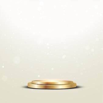 Goldenes podium mit einem scheinwerfer und einem bokeh