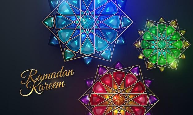 Goldenes ramadan kareem zeichen und traditionelle arabische verzierung mit edelsteinen