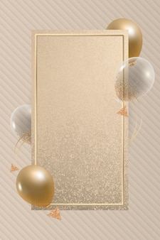 Goldenes rechteck ballons rahmendesign