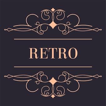 Goldenes retro-logo mit wirbelnden wellenlinien und blumenornamenten