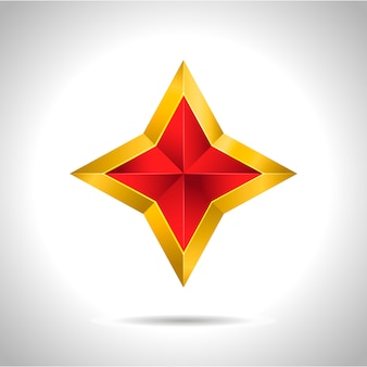Goldenes rotes sternillustrations-3d-weihnachtssymbol