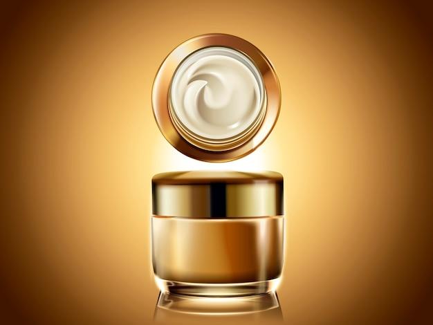Goldenes sahneglas, leere kosmetikbehälterschablone zur verwendung mit cremetextur in der illustration, glühender goldener hintergrund