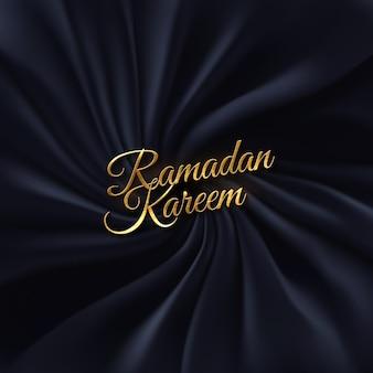 Goldenes schild des ramadan kareem auf schwarz drapiertem textilhintergrund