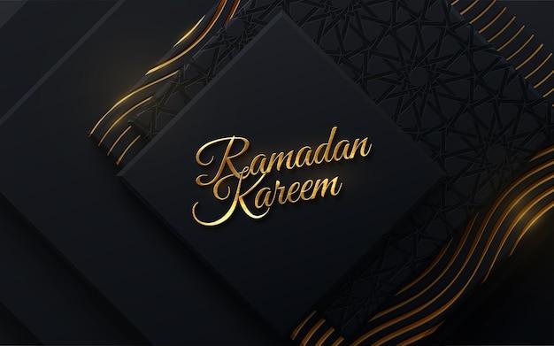 Goldenes schild des ramadan kareem auf schwarzem papierschnitthintergrund mit girih-muster
