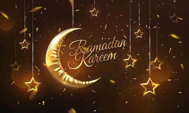Goldenes schild des ramadan kareem mit halbmond und hängenden sternen