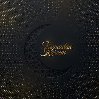 Goldenes schild ramadan kareem und halbmond im papierschnitt mit traditionellem arabischen muster und glitzern