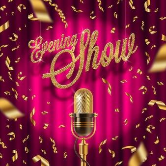 Goldenes schild und retro-mikrofon auf der bühne im scheinwerferlicht vor dem hintergrund des roten vorhangs und des goldenen konfettis. illustration.