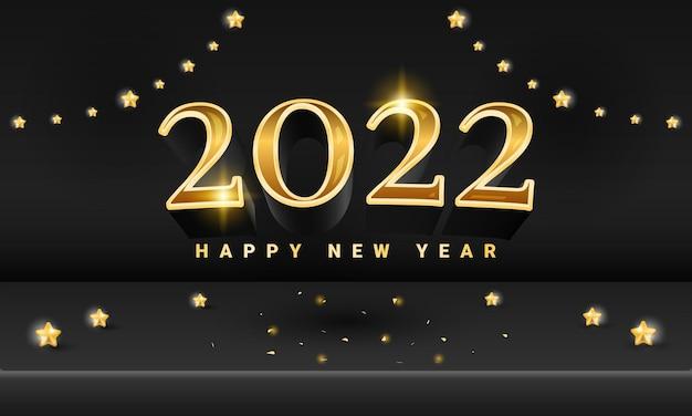 Goldenes schwarzes 2022 frohes neues bühnenbanner mit sternelement