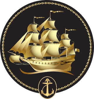 Goldenes segelschiff mit einer windrose und einem anker