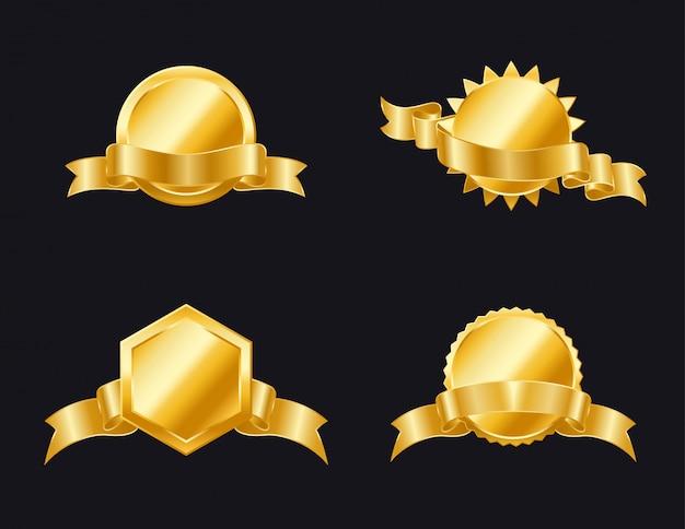 Goldenes siegel mit bändern isoliert