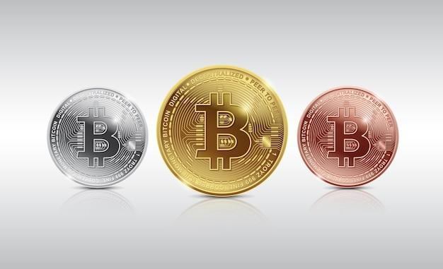Goldenes, silber und bronze bitcoin digitale währung und digitales geld konzept
