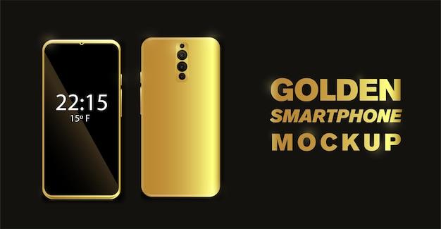 Goldenes smartphone auf schwarzem hintergrund vektor handymodell mit goldenen knöpfen vollständig editierbar