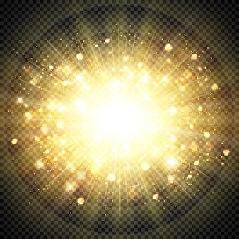 Goldenes sonnenlicht des abstrakten effektes für funkelndes element der sonnenexplosion. illustrationsvektor eps10