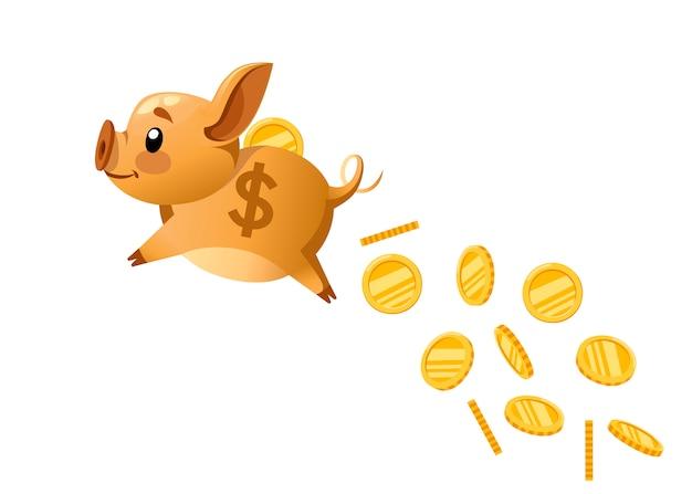 Goldenes sparschwein fliegt und münze fallen lässt. das konzept, geld zu sparen oder zu sparen oder eine bankeinlage zu eröffnen. illustration auf weißem hintergrund