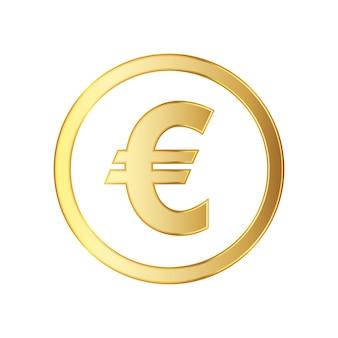 Goldenes symbol der eurowährung lokalisiert auf weiß