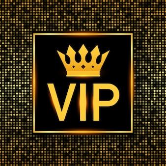 Goldenes symbol der exklusivität, vip-text mit krone. sehr wichtige person.