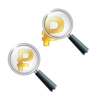 Goldenes symbol des russischen rubels mit lupe. finanzielle stabilität suchen oder überprüfen. isoliert auf weißem hintergrund