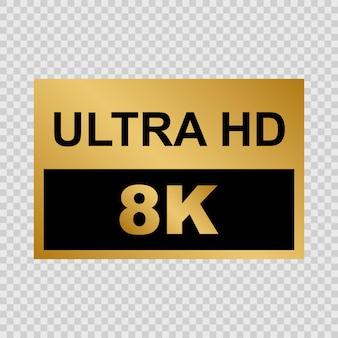 Goldenes ultra hd-label. zeichen der modernen technologie
