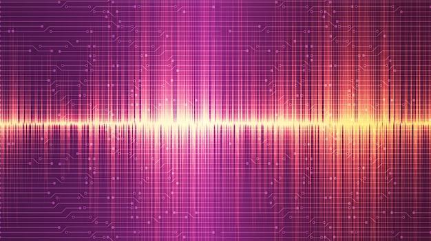 Goldenes und rosa ultrasonic schallwellen-hintergrunddesign