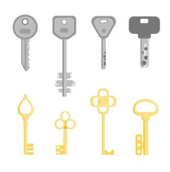 Goldenes und silbernes schlüsselset unterschiedliches design