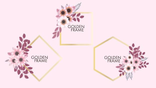 Goldenes vintage-label mit blumenrahmen im detaillierten stil für hochzeitseinladungen in sozialen medien
