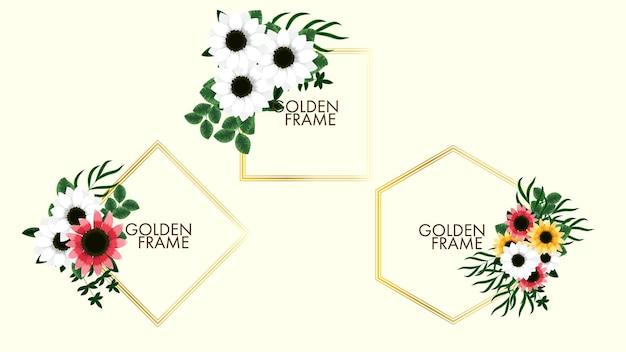 Goldenes vintage-label mit blumenrahmen im detaillierten stil für hochzeitseinladungen in sozialen medien Premium Vektoren