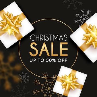 Goldenes weihnachtsverkaufsbanner mit geschenken
