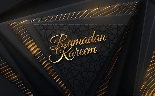 Goldenes zeichen des ramadan kareem auf schwarzen geometrischen formen und traditionellem girih muster