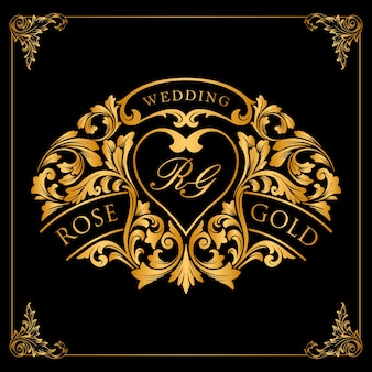 Goldetikett und luxusrahmenverzierungen für ihren hochzeitseinladungsentwurf